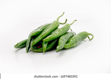 Fresh and Raw green chili isolated on white background.