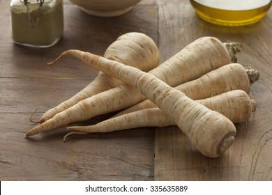 Fresh raw heirloom parsnips