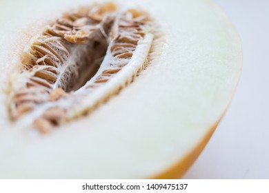 Fresh raw honeydew melon cutted in half