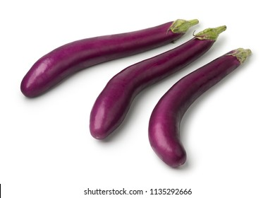 Fresh raw Japanese purple eggplants iisolated on white background