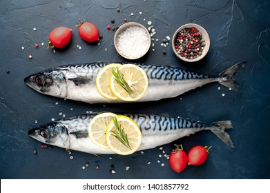 Fresh, raw mackerel with spices, tomatoes, rosemary on a concrete background