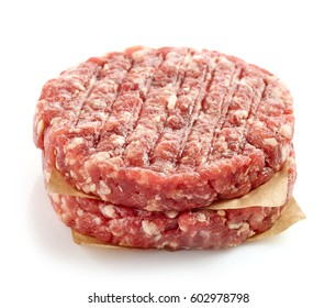fresh raw meat for making a burger isolated on white background