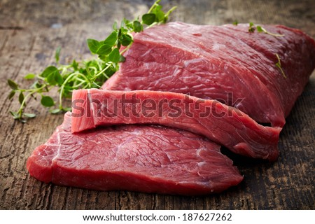 fresh raw meat on old wooden table