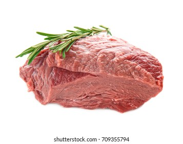 Fresh raw meat with rosemary on white background