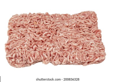 Fresh raw minced beef meat isolated over white background