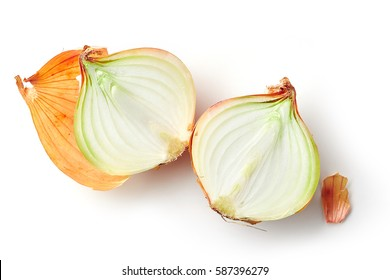 fresh raw onions isolated on white background, top view