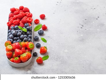 Fresh raw organic berries in in stainless steel tray on stone kitchen table background. Space for text. Top view. Strawberry, Raspberry, Blueberry and Mint leaf