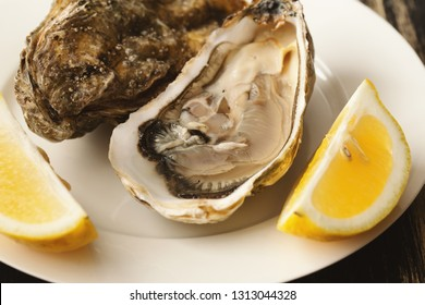 Fresh raw oyster shucked