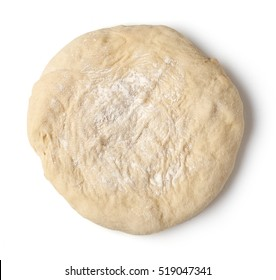 fresh raw pizza dough isolated on white background, top view