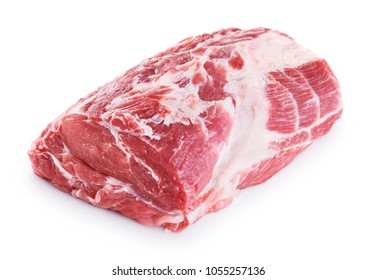 Fresh raw pork neck meat isolated on white background. With clipping path.