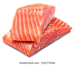 Fresh raw salmon fillets isolated on white background.