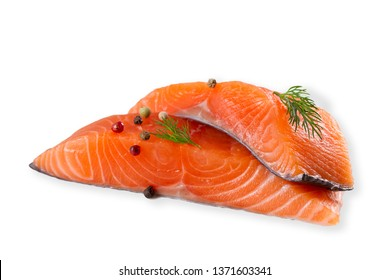 Fresh raw salmon fish with spices, isolated on white background with shadow