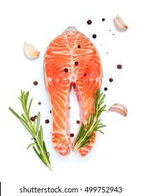 Fresh Raw Salmon Red Fish Steak