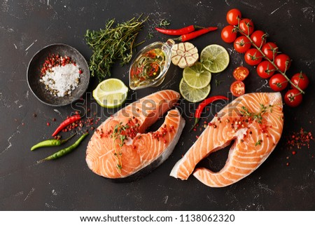1793f62649c1 Fresh Raw Salmon Steaks Lime Thyme Stock Photo (Edit Now) 1138062320 ...