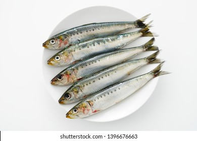 Fresh raw sardine on a plate.