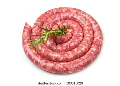 fresh raw sausage with rosemary on white background
