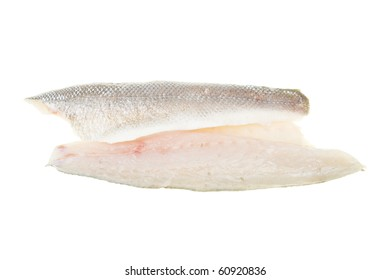 Fresh raw sea bass fish fillets isolated on white