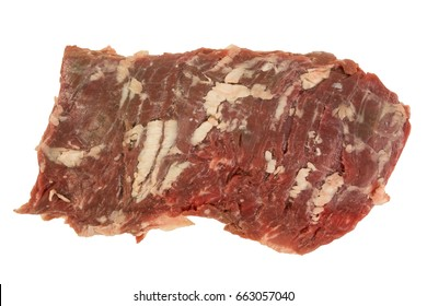 Fresh raw Skirt Beef steak on white background. Isolated, great for texture. Narrow Aperture shot especially for texture use. Left side.