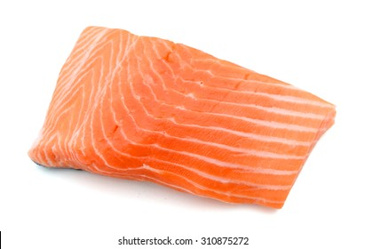 fresh raw slice of salmon on white background