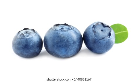 Fresh raw tasty blueberries with leaf isolated on white