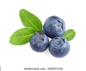 Fresh raw tasty blueberries with leaves isolated on white