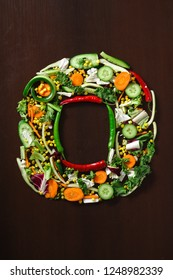 Fresh Raw Vegetables In Chunks Shaped into Number Zero or Letter O