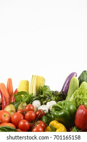 Fresh raw vegetables for healthy  isolated on white background.(clean eating dieting and healthy organic food concept)