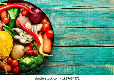 Fresh raw vegetables on the kitchen table.Healthy eating concept.Copy space