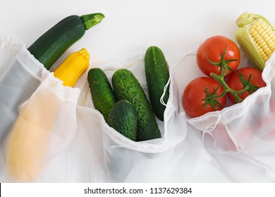 fresh raw vegetables in textile bags, zero waste concept