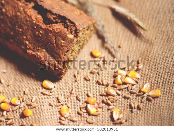 Fresh ray bread closeup