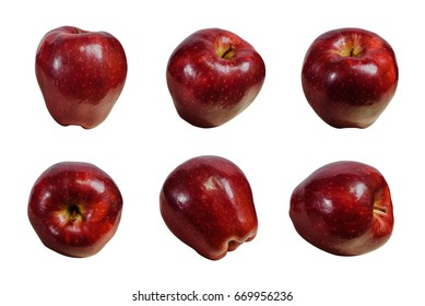 fresh red apple different view on white background set
