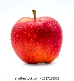 Fresh red apple with droplet on white background. Isolated concept.