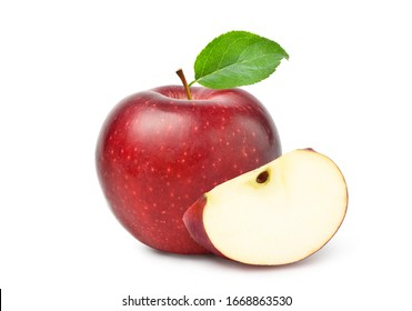 Fresh red Apple fruit with sliced and green leaves isolated on white background. Clipping path.