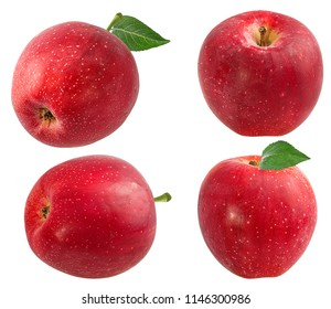 Fresh red apple isolated on white background with clipping path