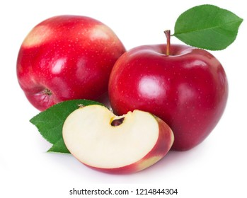 fresh red apple with leaf and slice isolated on white background