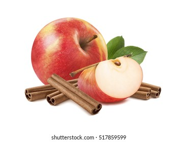 Fresh red apple with leaves and cinnamon sticks 2 isolated on white background as package design element