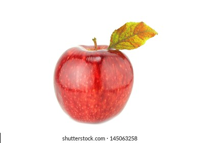 Fresh red apple on white background  with a clipping path