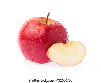 Fresh red apple and slice apple isolated on white background