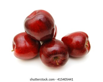 fresh red apples isolated on wooden board