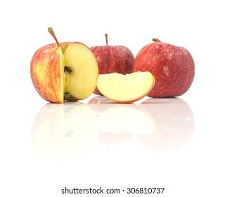 Fresh red apples - ripe fruit on white background
