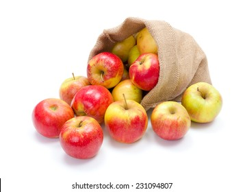 Fresh red apples spreading out from burlap bag