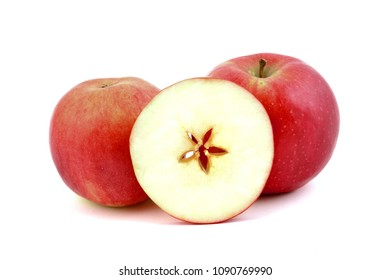 Fresh red apples with star, on white background.