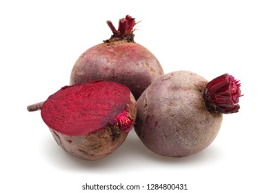 Fresh red beet roots isolated on white background