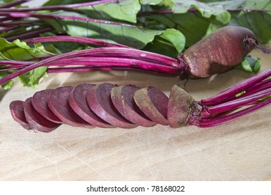Fresh red beetroot with leaves