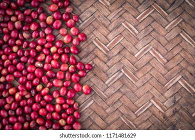 Fresh red berries coffee beans