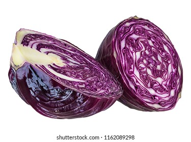 Fresh red cabbage isolated on white background with clipping path