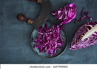 Fresh red cabbage sliced and chopped