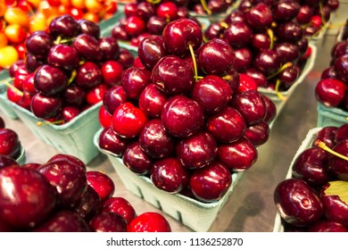 fresh red cherry fruit close up shot