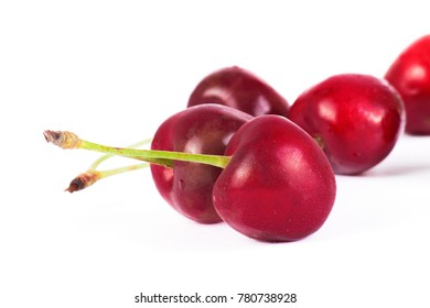 Fresh red cherry isolated on white background