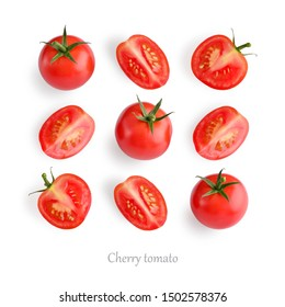 Fresh red cherry tomatoes on white background, top view.